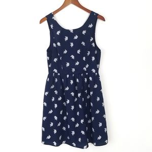 Everly Elephant Print Sleeveless Dress Navy L